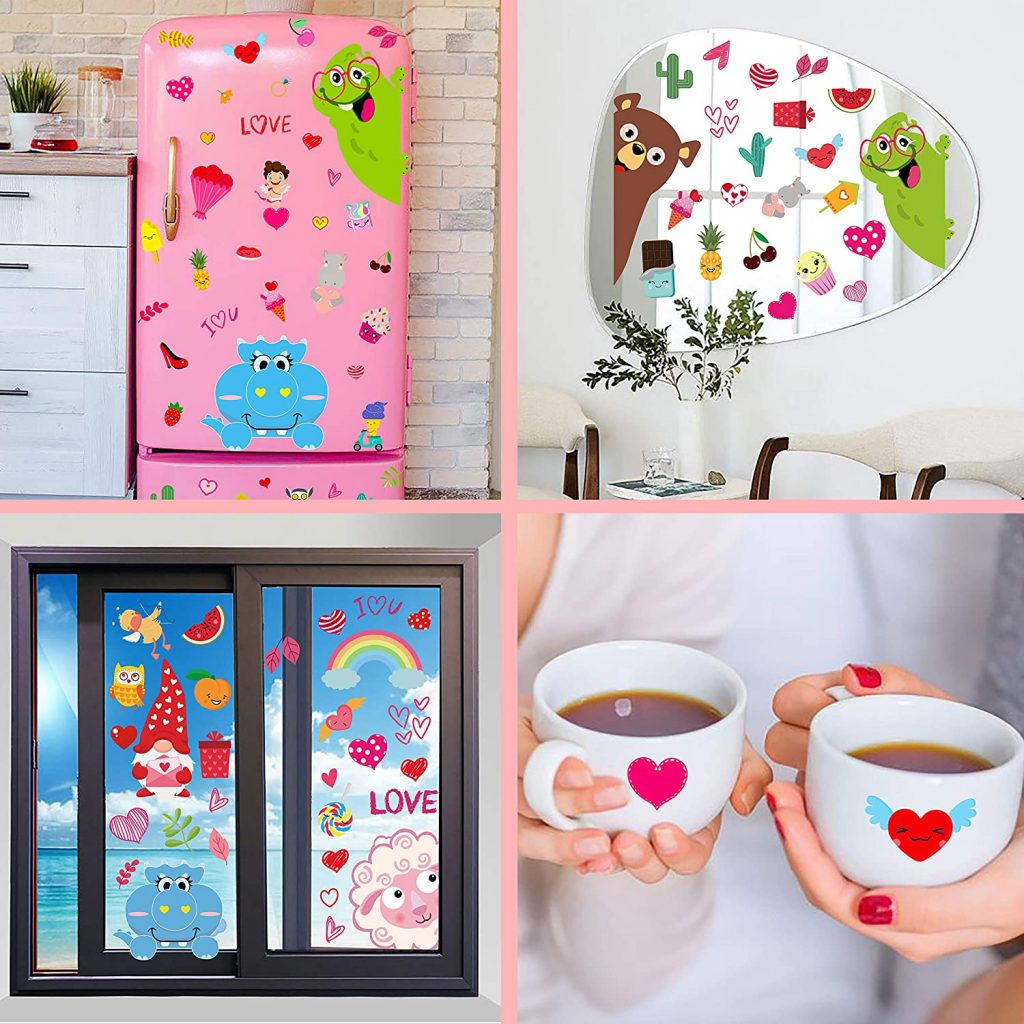 166 PCS Valentine's Day Window Clings Decorations Valentine Decor