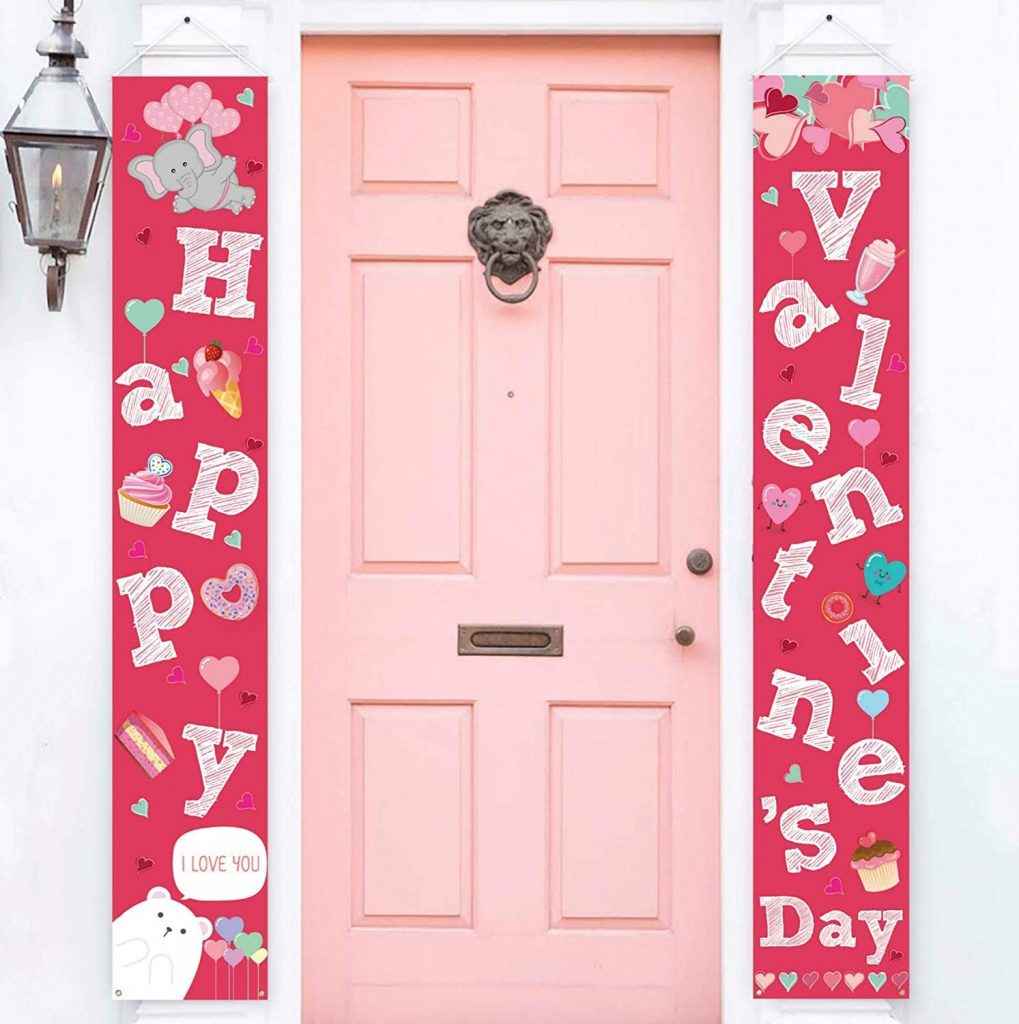 2 PCS Valentines Day Decorations Banners Door Porch Sign Hanging Love Heart Streamers Wall Decor Party Supplies