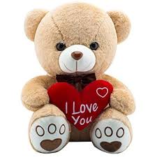 AIXINI Plush Love Stuffed Teddy Bear 17.3inch Plush Animal Toy I Love You Gift Red Heart Pillow for Kids Girlfriend Lover Valentine's Day, Brown