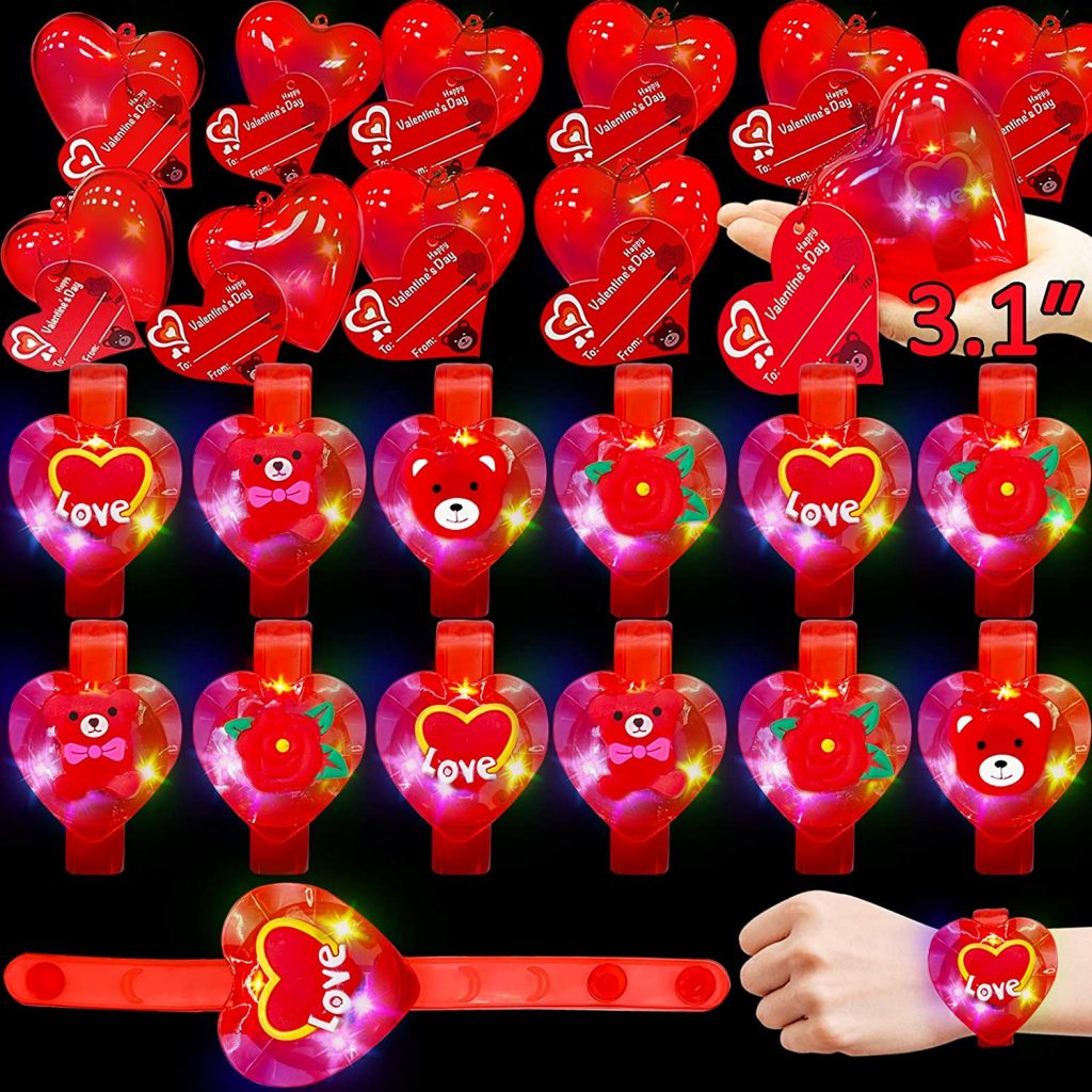 AMENON 28 Pack Heart Bracelets Light Up Toys Filled Storage Box Valentines Gifts