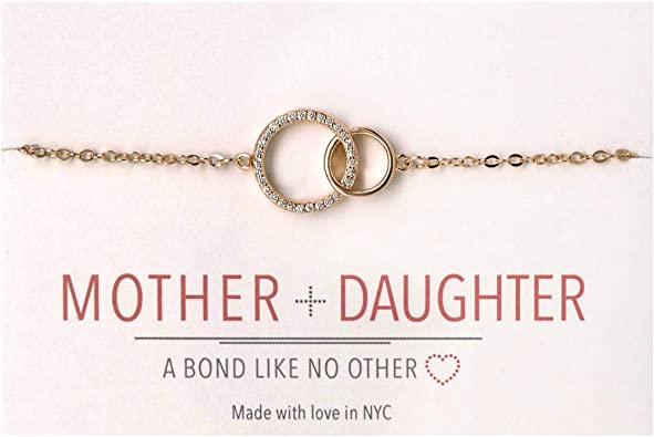 A+O Gifts for Mom, Mother Daughter Gift - Interlocking Circle Necklace OR Bracelet valentine day for mom