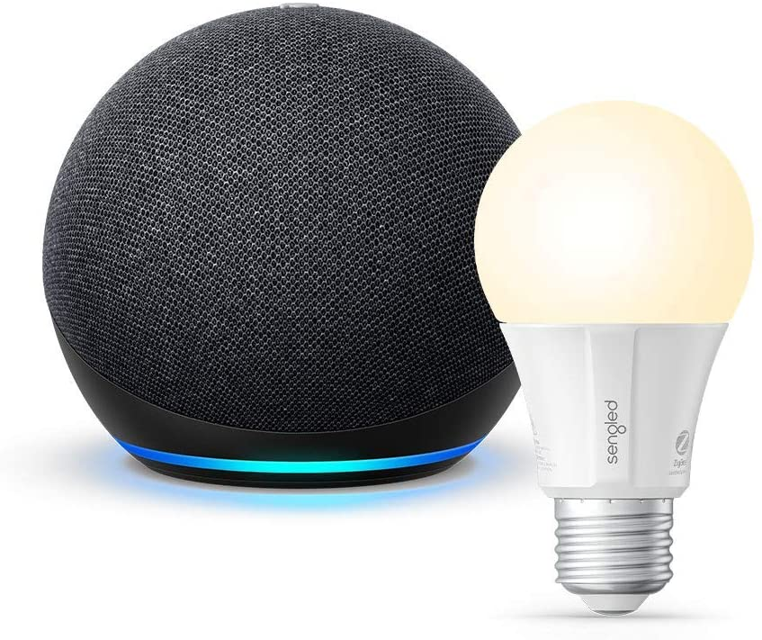 All-new Echo Dot (4th Gen) - Charcoal - bundle with Sengled Bluetooth bulb valentine day for guys
