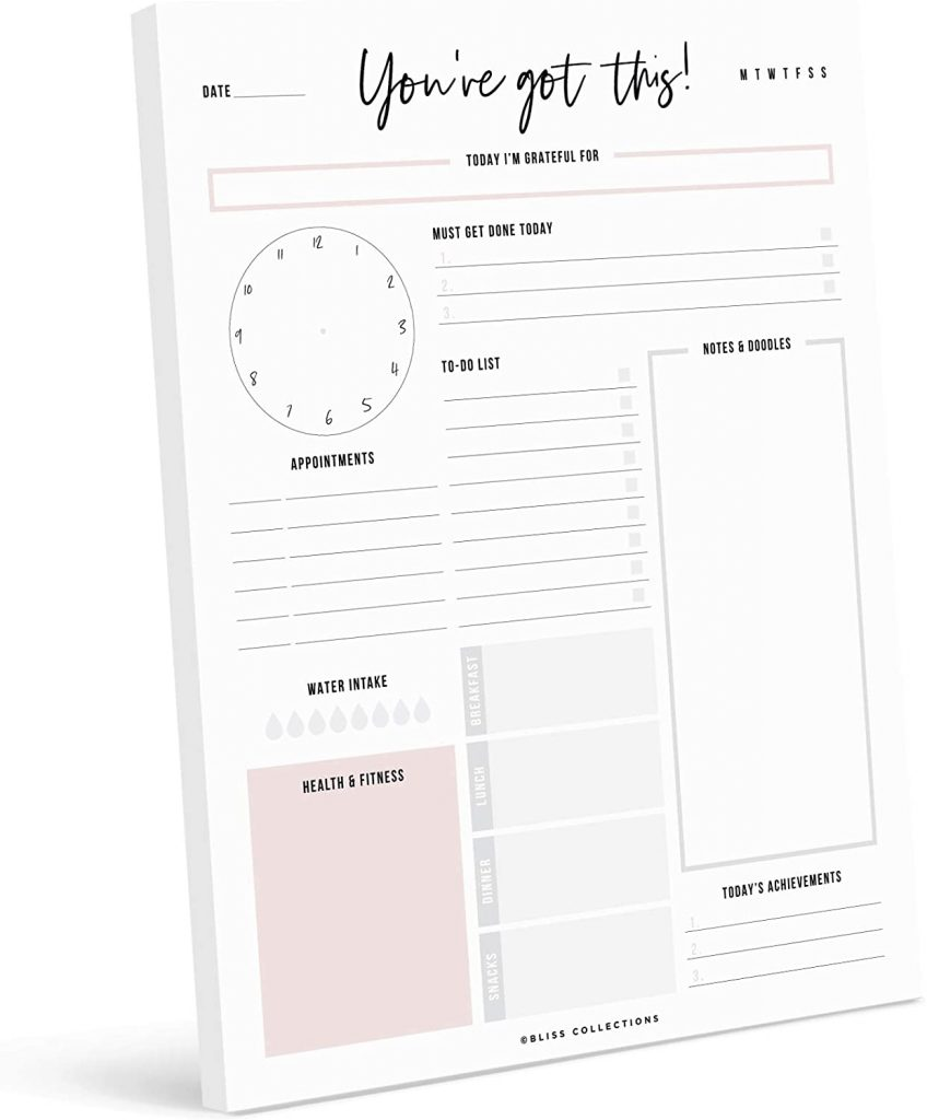 Bliss Collections Daily Planner with 50 Undated 8.5 x 11 Tear-Off Sheets - You've Got This Calendar