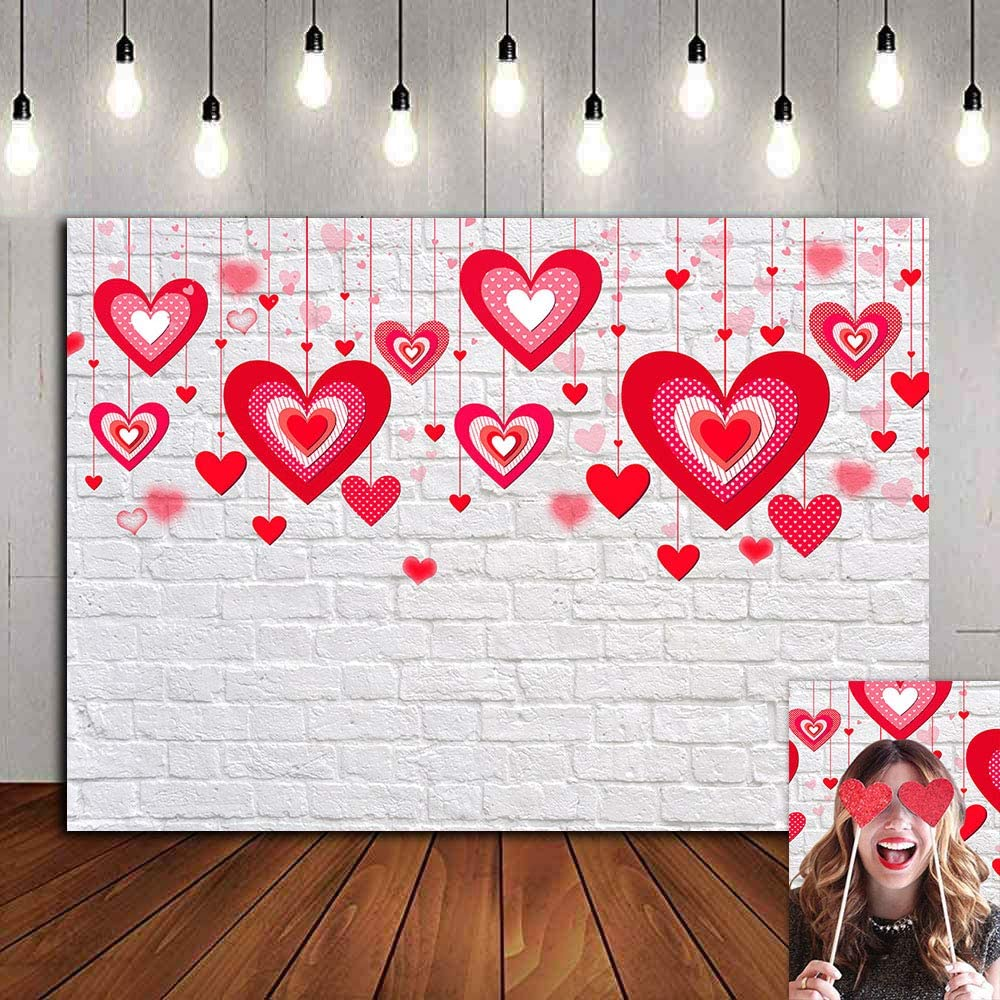 Bokeh Red Heart Valentine's Day Photo Background Rustic White Brick Wall Party Decorations Photography Backdrop Bridal Shower