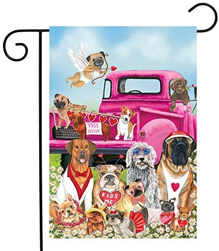 Briarwood Lane Happy Valentine's Dogs Garden Flag Puppy Love Humor