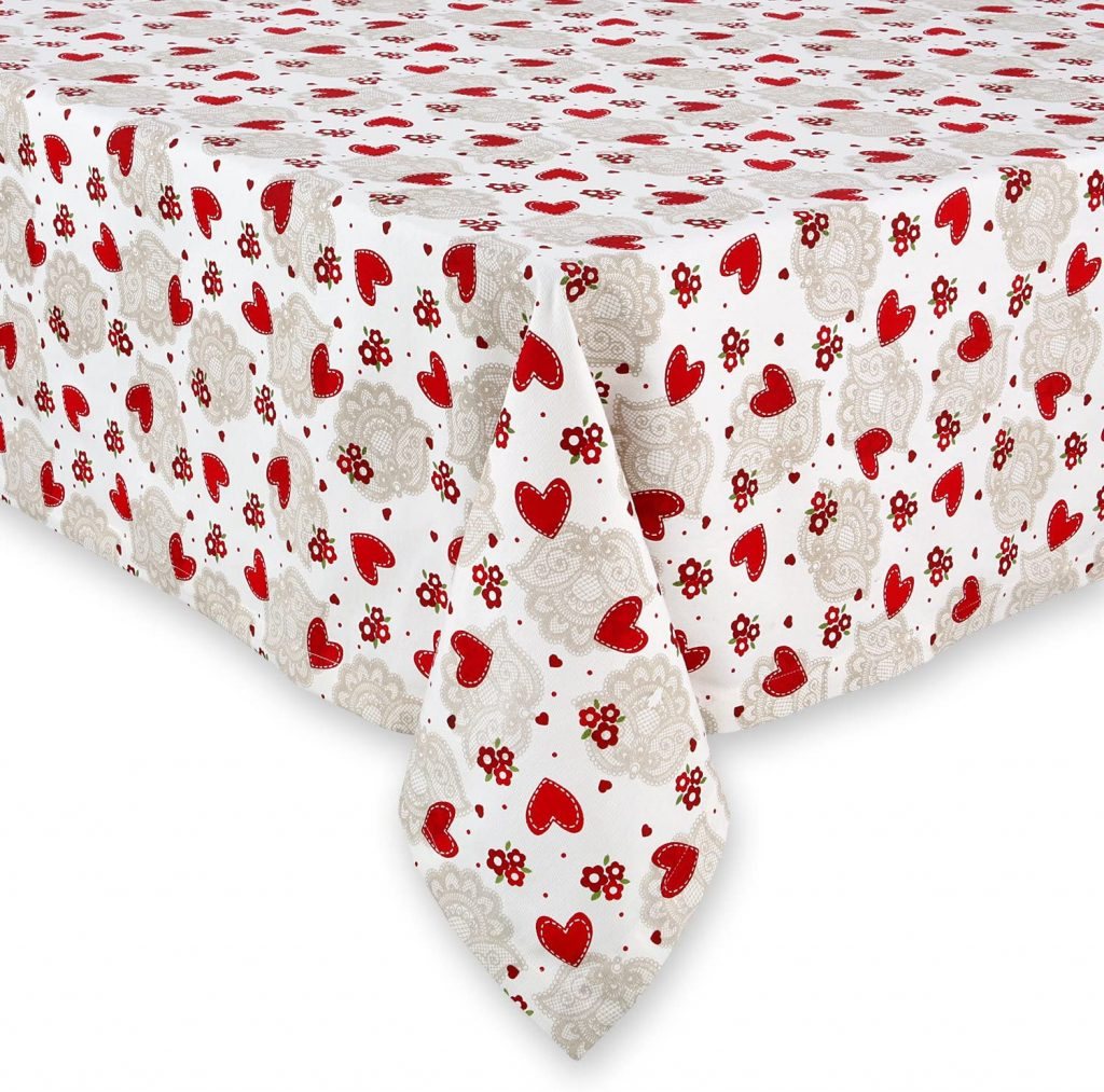 Cackleberry Home Hearts and Lace Tablecloth Cotton Fabric 52 x 70 Rectangular