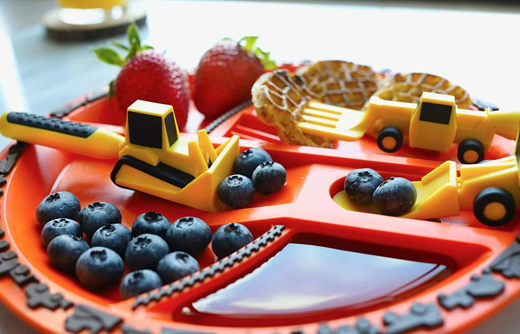 Constructive Eating Construction Combo with Utensil Set and Plate for Toddlers,
