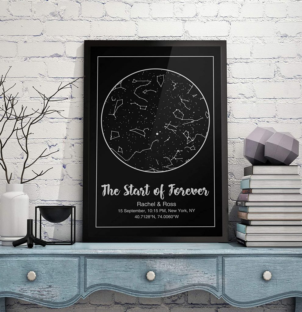 Custom Star Map Night Sky Print Poster Constellation Wedding Anniversary Engagement Gifts Personalized Gift valentine day for mom