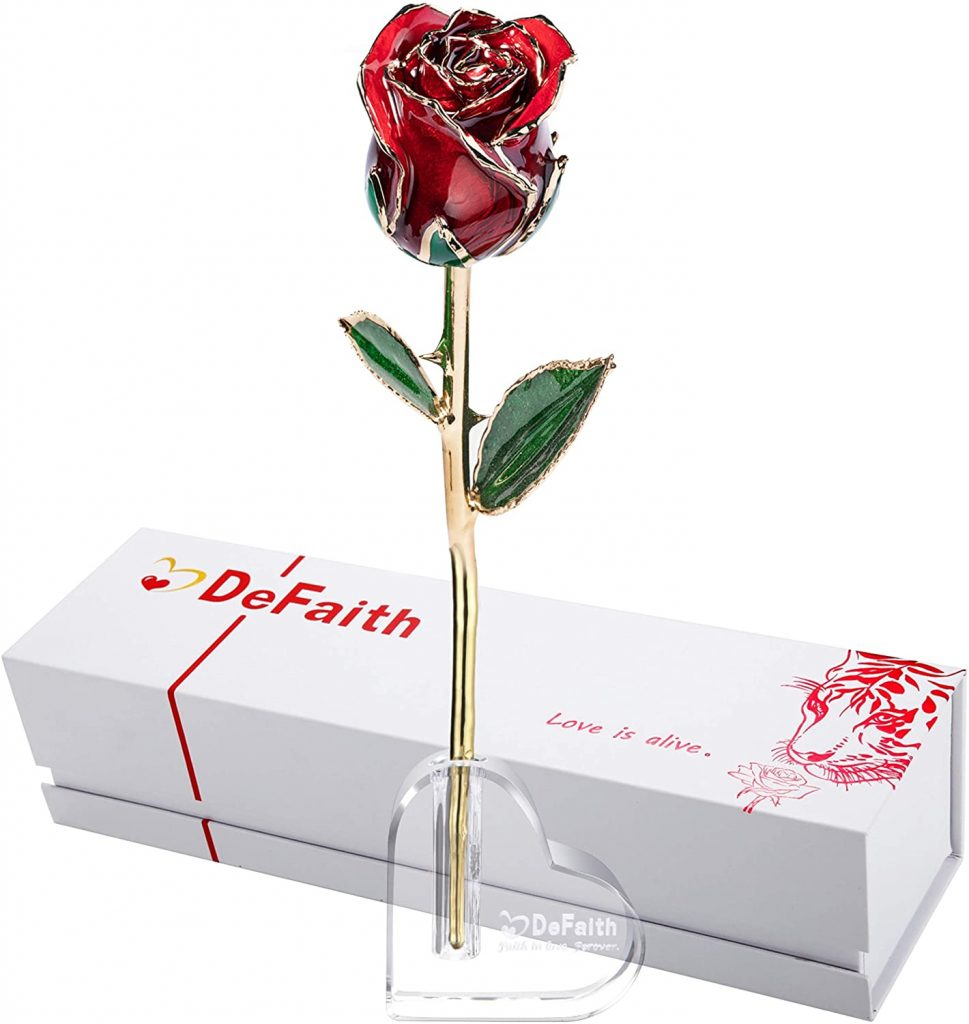 DEFAITH Real Rose 24K Gold Dipped, Forever Gifts for Her Valentines Day Anniversary Wedding and Proposal