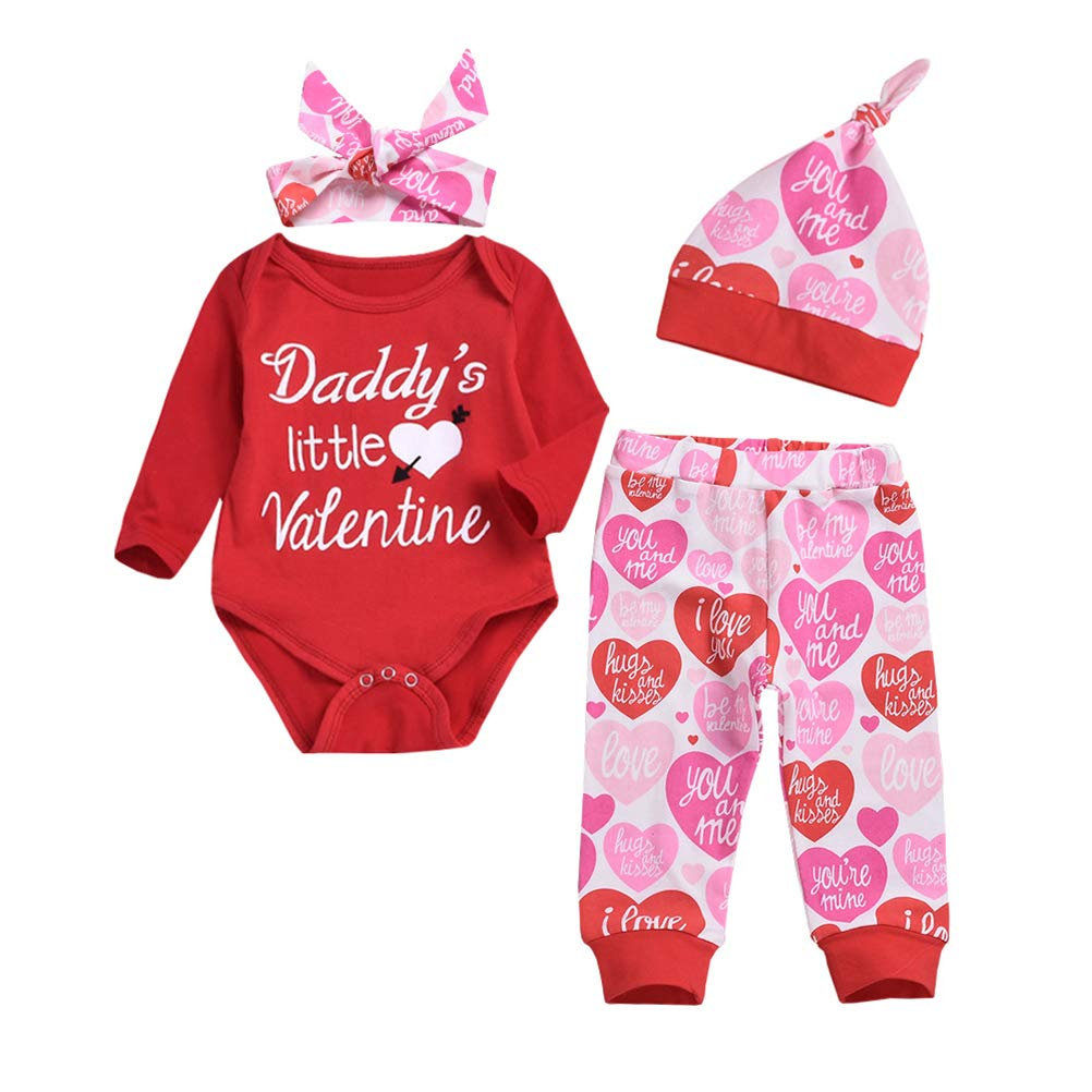 Daddy's Little Valentine Outfit Baby Girls Cute Valentine's Day Romper Set