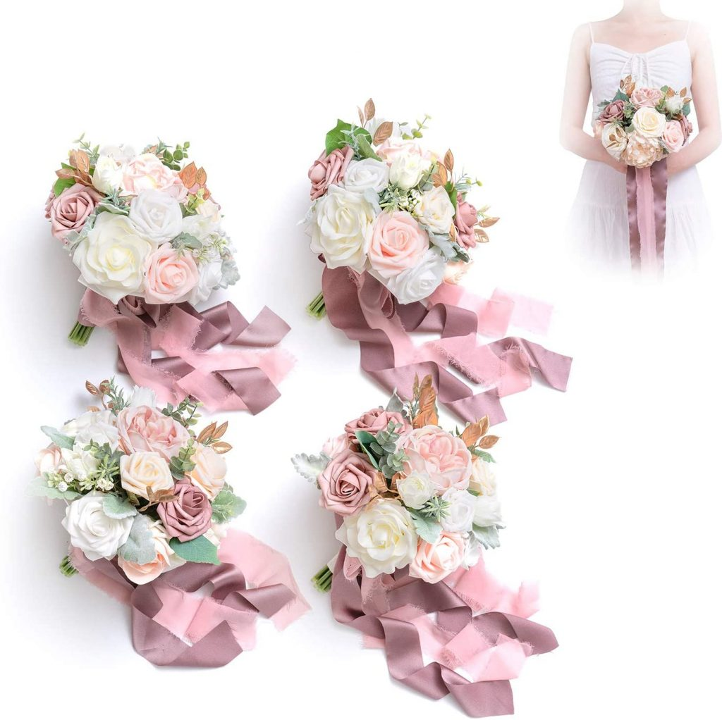 Dusty Rose Artificial Flowers Vintage Wedding Bouquet valentine day for mom