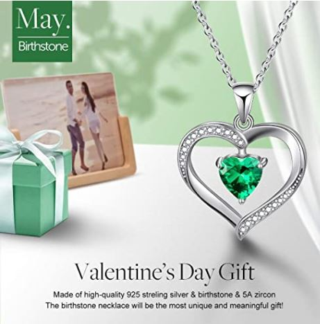 Esberry Gifts for Valentine's Day Forever Love Heart Necklace 18K Gold Plated 925 Sterling Silver