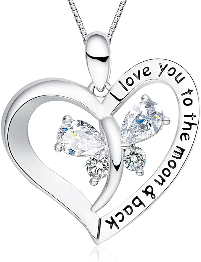 FANCYCD Holiday Deals Week I Love You to the Moon and Back Love Heart Necklace, Jewelry for Women