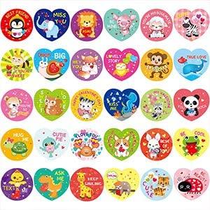 Fancy Land 600 Valentines Sticker for Kids Heart Animal