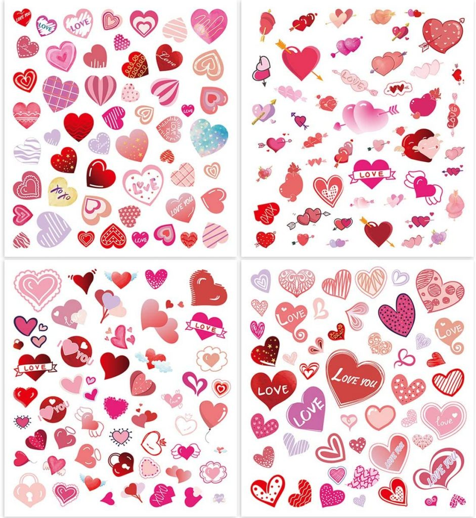 Fancy Land Valentine Heart Stickers for Kids 8 Sheets Colorful Valentines Day Stickers Party Supply Classroom Reward