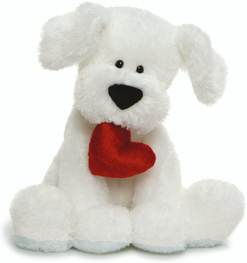 GUND Valentine's Day Romeo Dog Holding Heart Plush Stuffed Animal, 10 , White (4061387)
