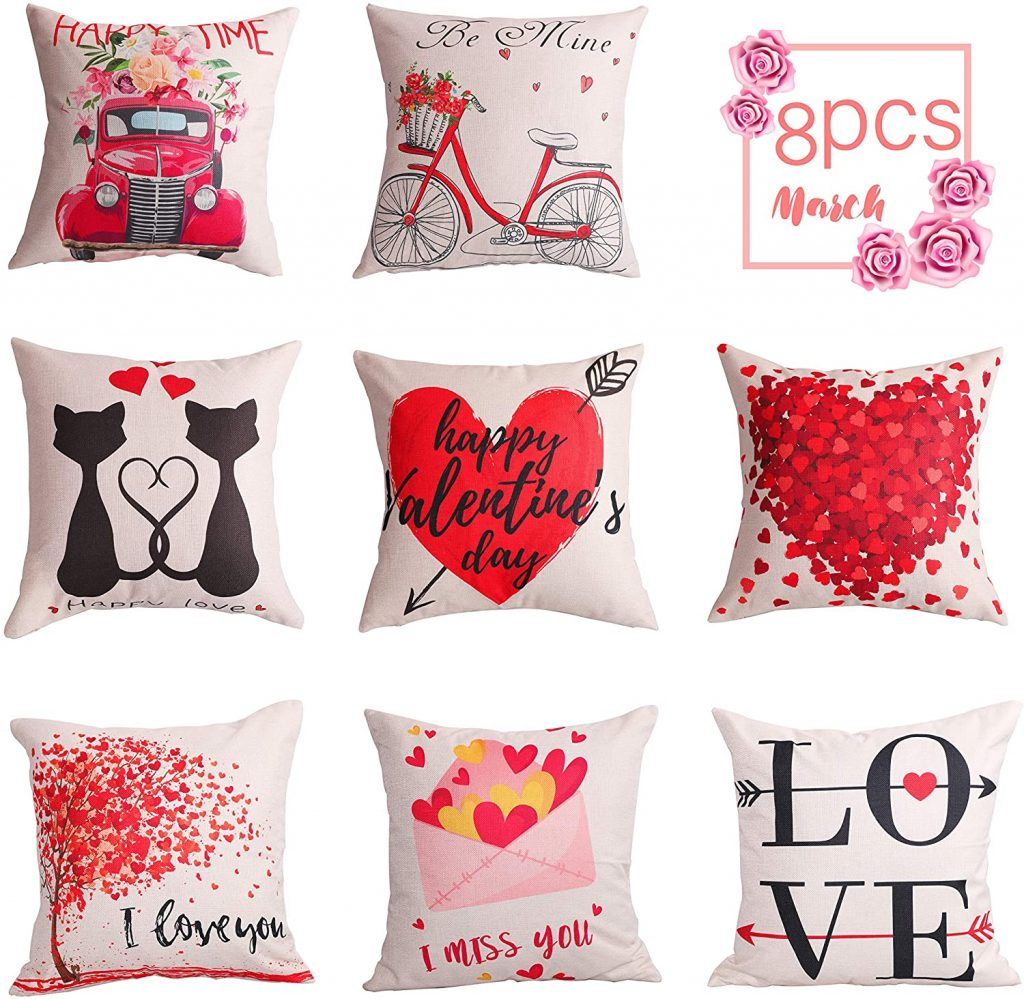 Geefuun 8PCS Valentine's Day Throw Pillow Case Decorations