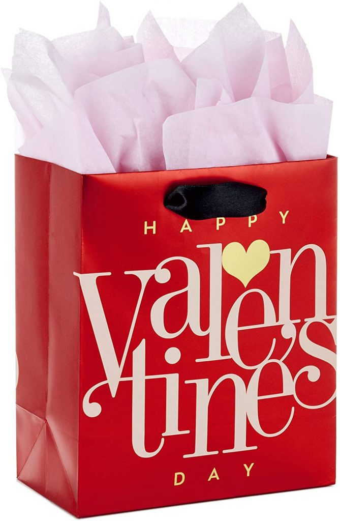 Hallmark 6 inches Small Valentine's Day Gift Bag with Tissue Paper (Red Happy Valentine's Day, Gold Heart)