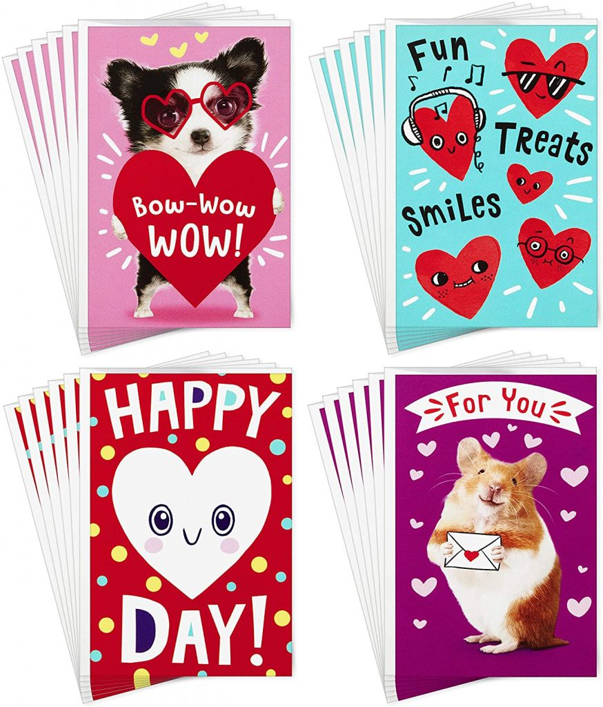 Hallmark Assorted Valentines Day Cards for Kids Happy Heart Day (24 Valentines Day Cards with Envelopes)