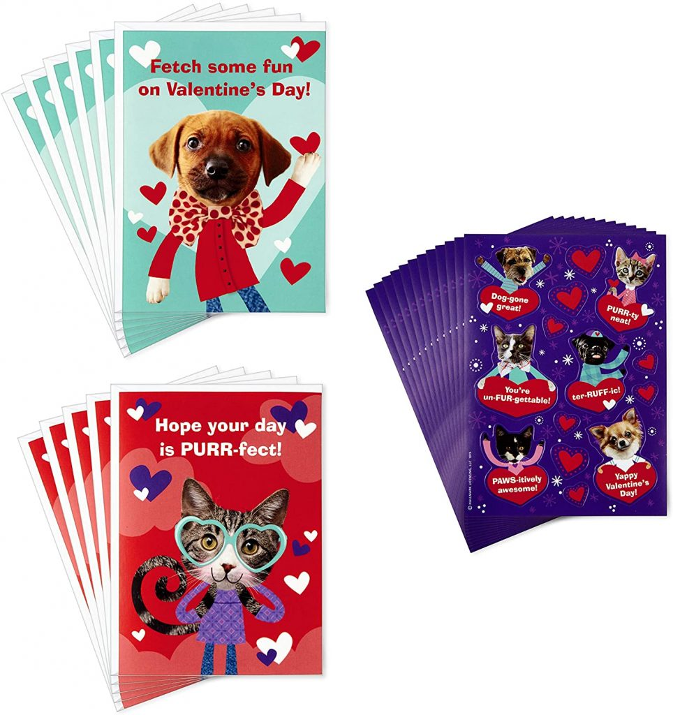 Hallmark Kids Valentines Day Cards and Stickers Assortment Puppies and Kittens (12 Cards with Envelopes)