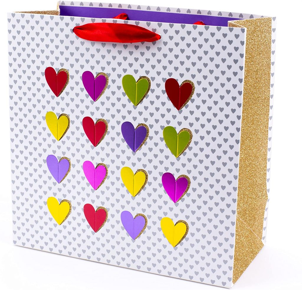 Hallmark Signature 10 inches Large Gift Bag (Multicolor Hearts, Gold Glitter)