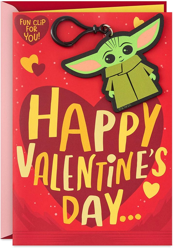 Hallmark Star Wars Valentines Day Card for Kid with Removable Backpack Clip (Baby Yoda)