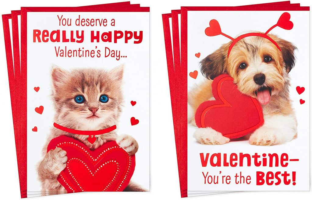 Hallmark Valentines Day Cards Assortment, Puppy and Kitten (6 Valentine's Day Cards with Envelopes)