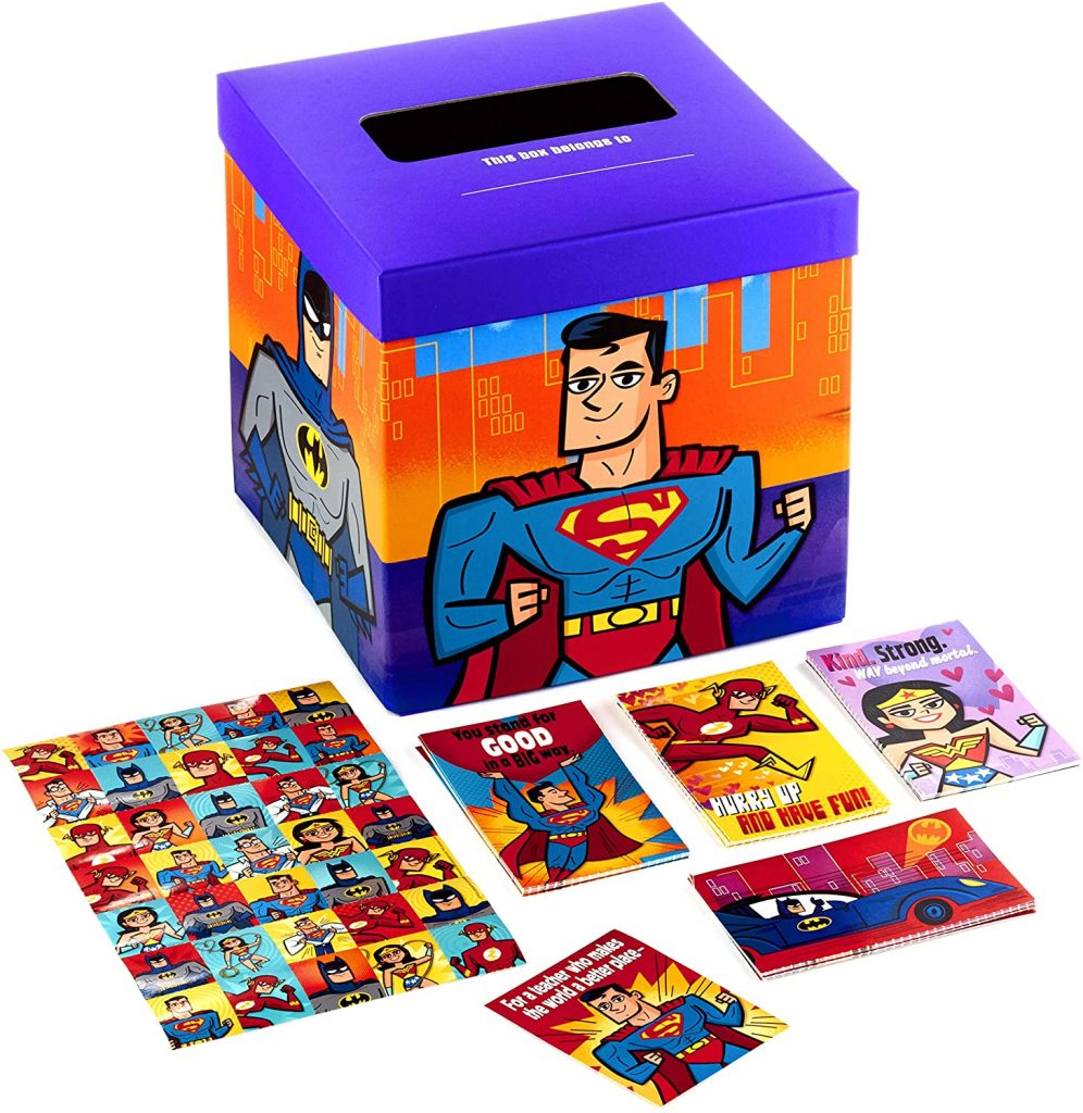 Hallmark Valentines Day Cards for Kids and Mailbox Justice League