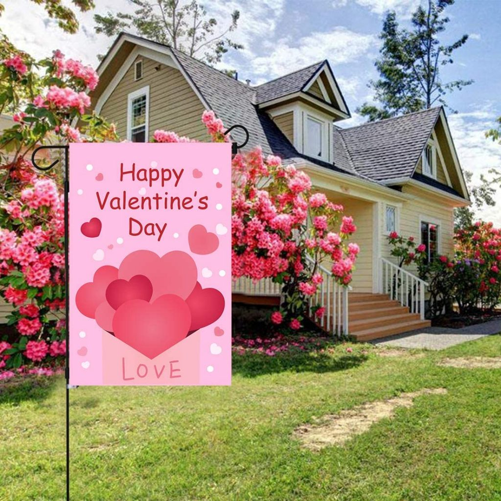 Happy Valentines Day Garden Flag Double Sided 12 X 18 Inch, Valentines Day Decorations for Garden Valentines Day Party Supplie