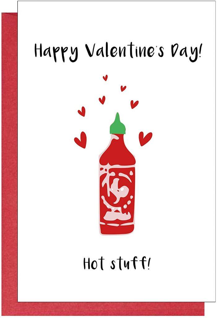 Hot Stuff Valentine's Day Card, Funny Valentines Day Card for Husband Wife Boyfriend Girlfriend