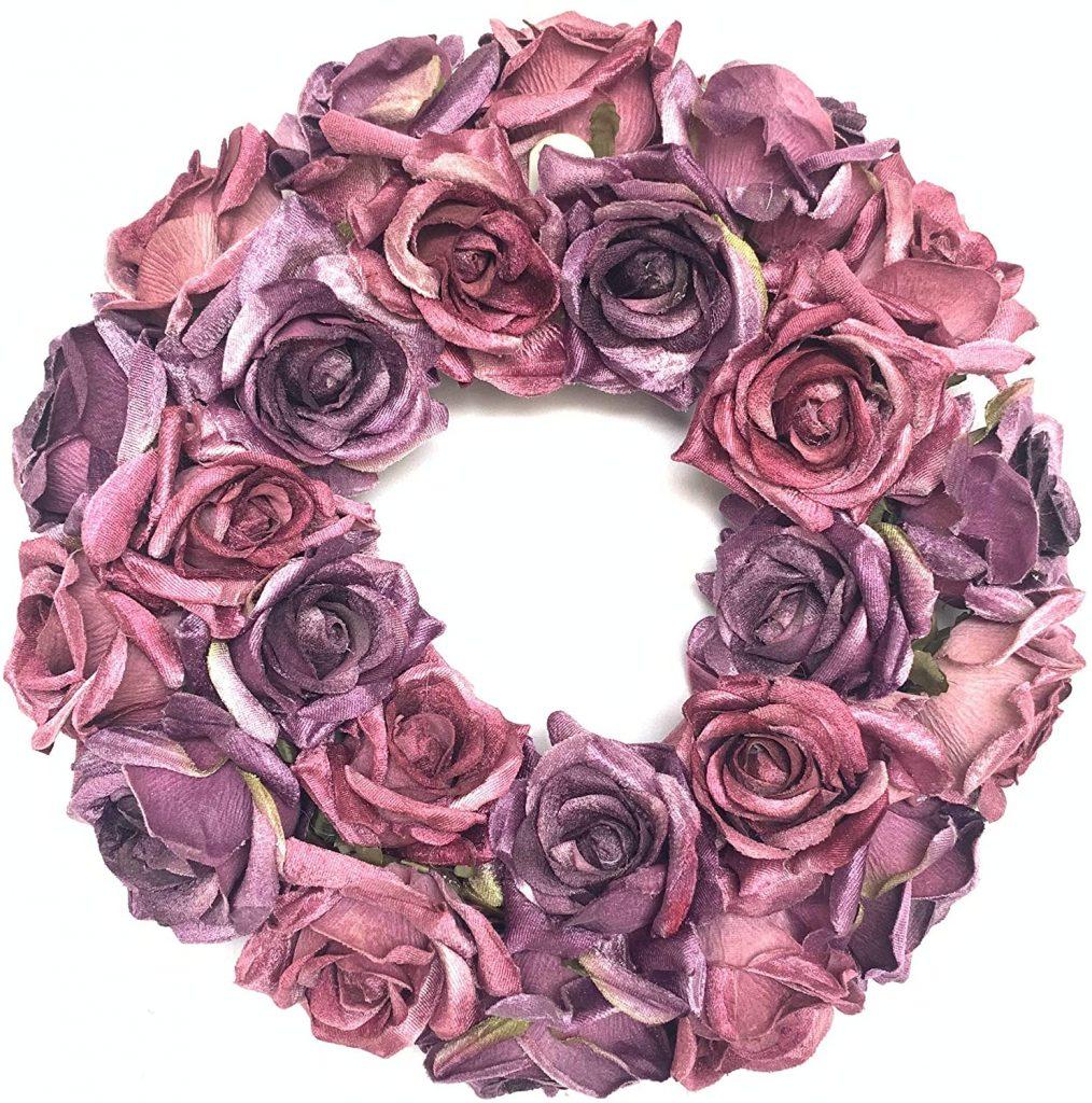 Huashen Valentines Day Wreath Winter Rose Wreath for Wedding Indoor and Front Door Home Decor 16inch Purple decoration