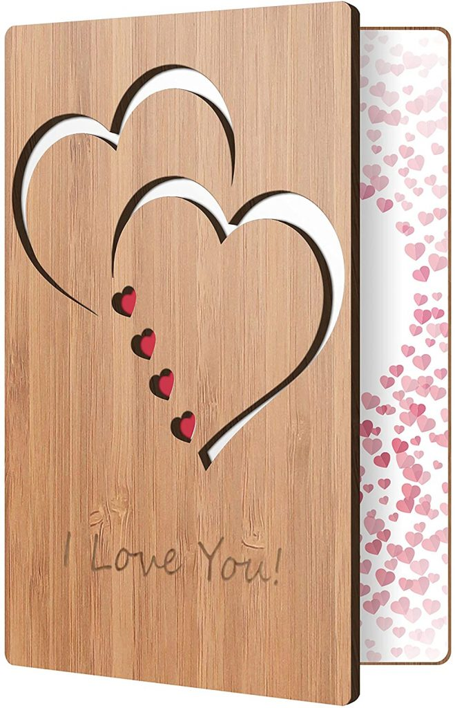 I Love You Card Handmade With Real Bamboo Wood, Wooden Greeting Cards For Any Occasion, To Say Happy Valentines Day Card