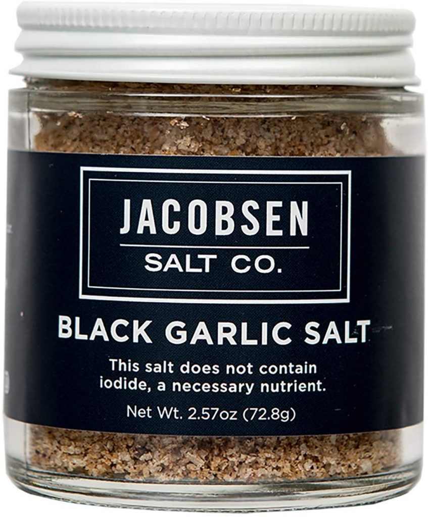Jacobsen Salt Co Specialty Sea Salt for Fancy Gourmet Cooking Infused Sea Salt Black Garlic Flavored