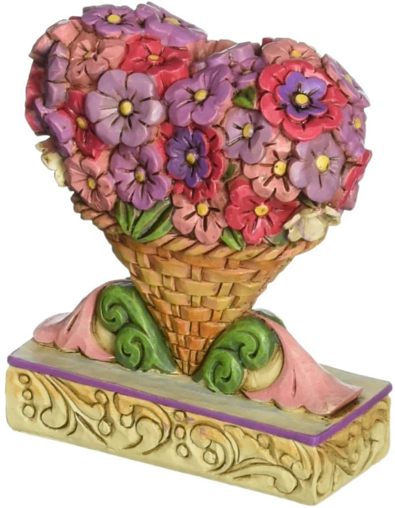 Jim Shore Heartwood Creek Mini Flower Heart Bouquet Stone Resin Figurine