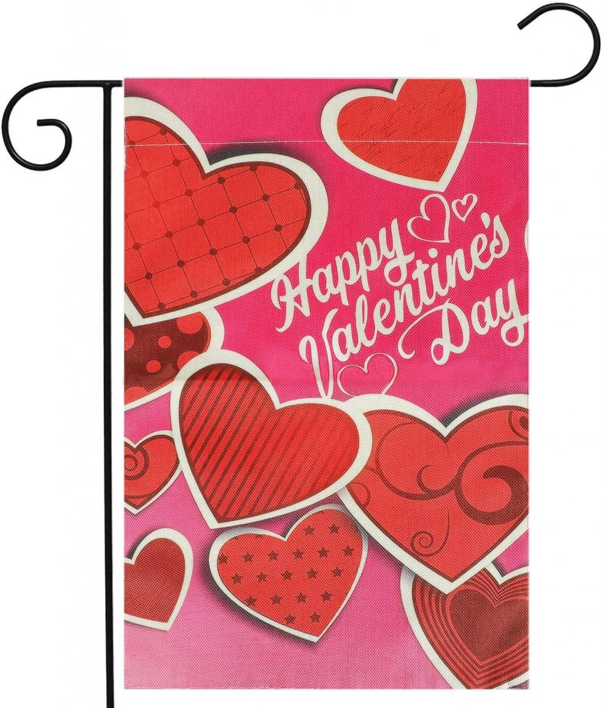 KissDate Double Sided Happy Valentine's Day Garden Flag, Perfect for Indoor Outdoor Garden Yard Decoration