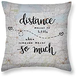 Long Distance Gift Love Quotes Decorative Throw Pillows Long Distance Relationship Pillow Moving Away Gifts Map valentine day for mom