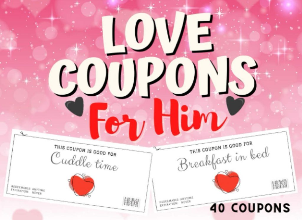 Love Coupons For Him Valentines day Vouchers for Husband or Boyfriend Funny Colorful coupons For Anniversary