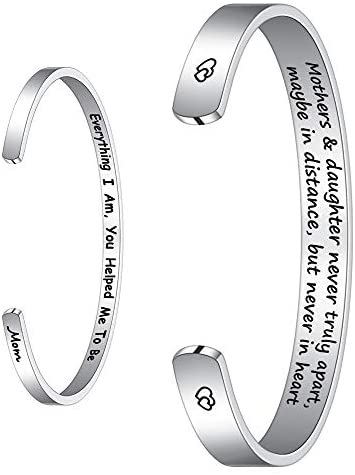 M MOOHAM Mom Gifts Bracelet from Daughter Son, Engraved Quote Grandmother Granddaughter Bracelets Gifts, valentine day for mom