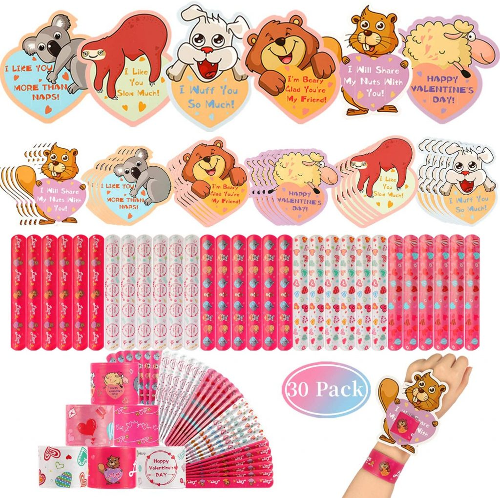 Mibor Valentines Day Cards for Kids - 30 Slap Bracelets + 30 Valentines Cards for Kids Class