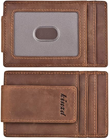 Money Clip, Front Pocket Wallet, Leather RFID Blocking Strong Magnet thin Wallet valentine day for guys