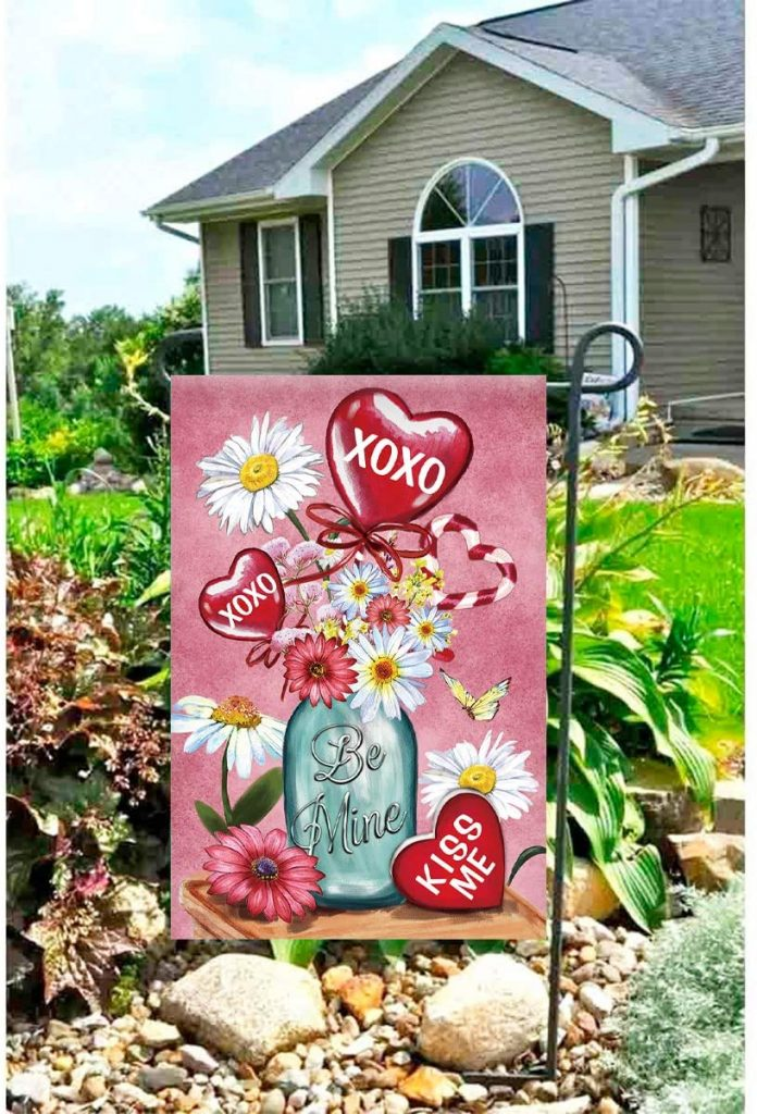 Morigins Be Mine Kiss Me Jar Valentine's Day Bouquet Decorative Daisy Garden Flag 12.5x18 inch