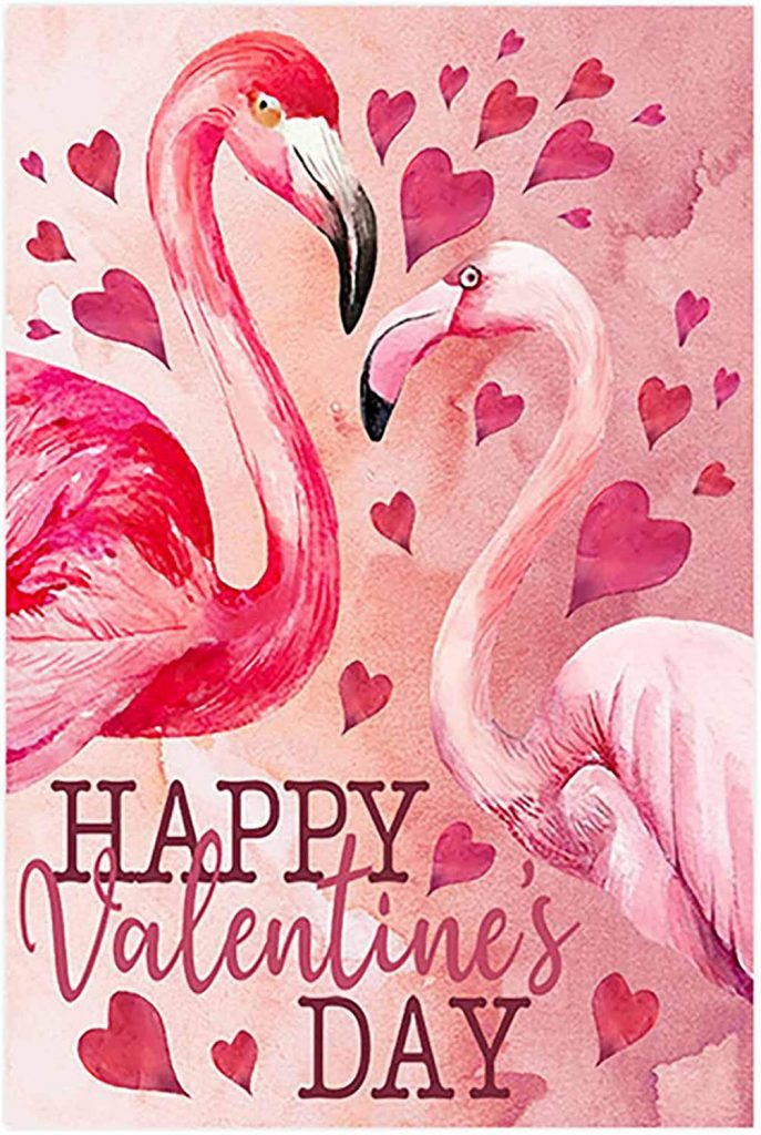 Morigins Happy Valentine's Day Decorative Love Heart Flamingo House Flag 12.5x18 inch