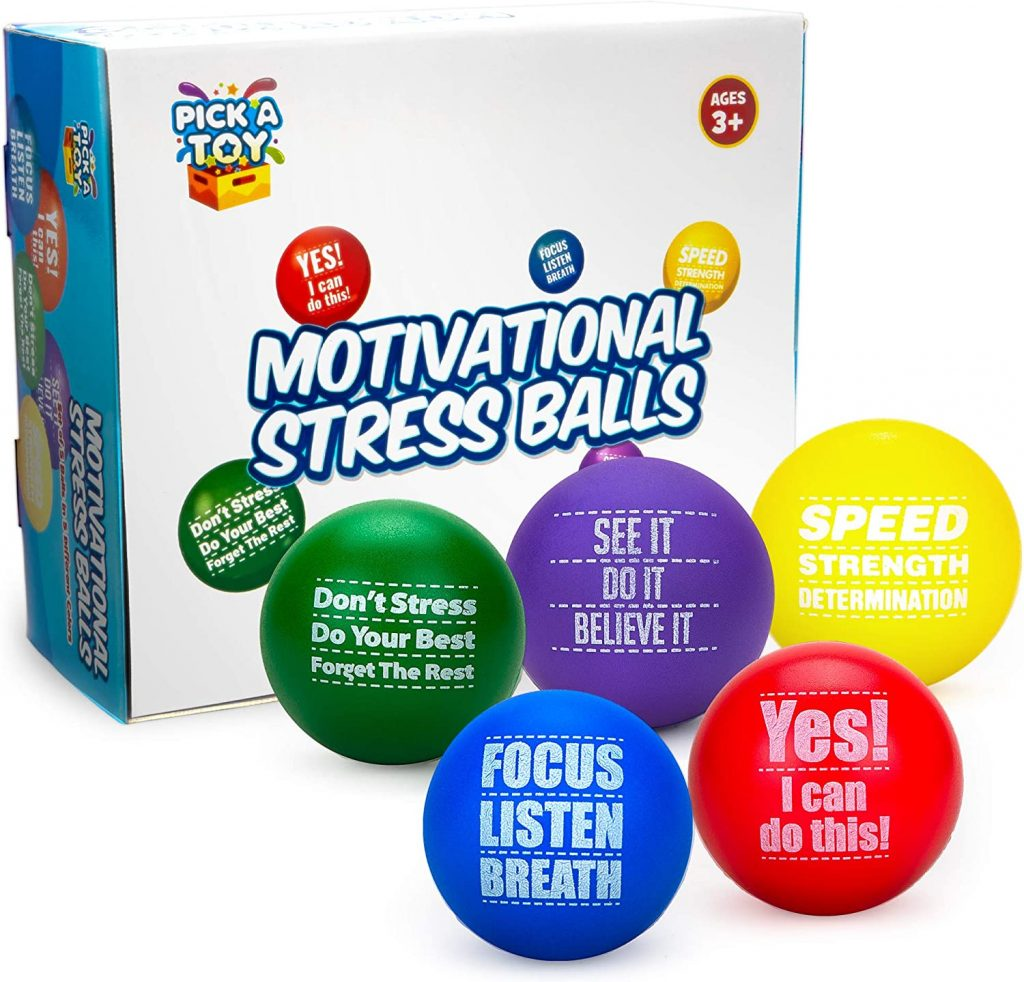 Motivational Stress Balls for Kids and Adults (5-Pack) Promote Anxiety and Stress Relief Motivate and Inspire Students, Staff, Teams