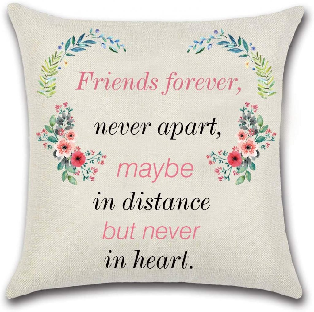 NKIPORU Inspirational Quote Pillows Covers Best Friends Forever Cotton Linen Square Decorative