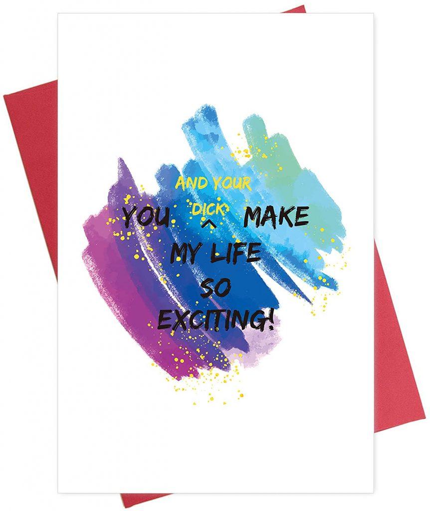 Naughty Anniversary Card, Cheeky Love Valentine's Day Card, Greeting Card for Husband Boyfriend BF