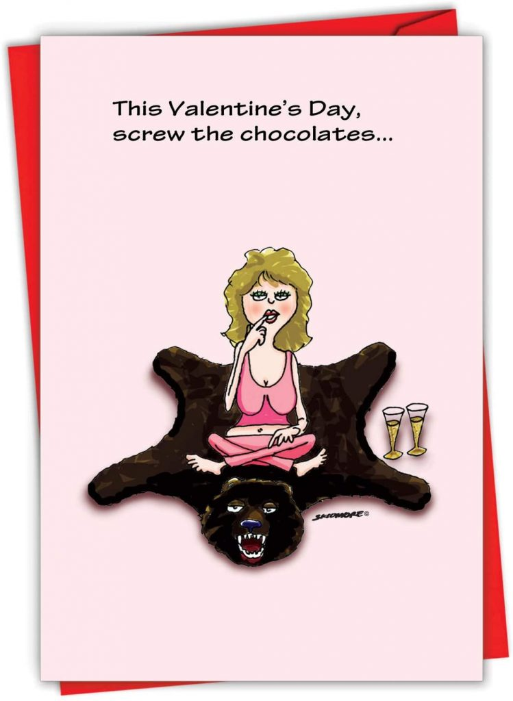 NobleWorks - Funny Valentines Day Card for Adults - Naughty Valentine, Spouse Notecard with Envelope (1 Card) - Screw the Chocolate 2053