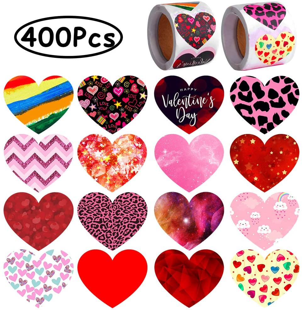 ONESING 400 Pcs Valentines Day Heart Stickers Love Decorative Stickers