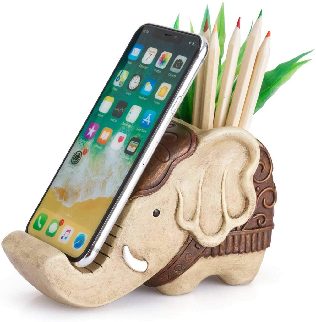 Pen Pencil Holder with Phone Stand, Coolbros Resin Shaped Pen Container Cell Phone Stand valentine day for mom