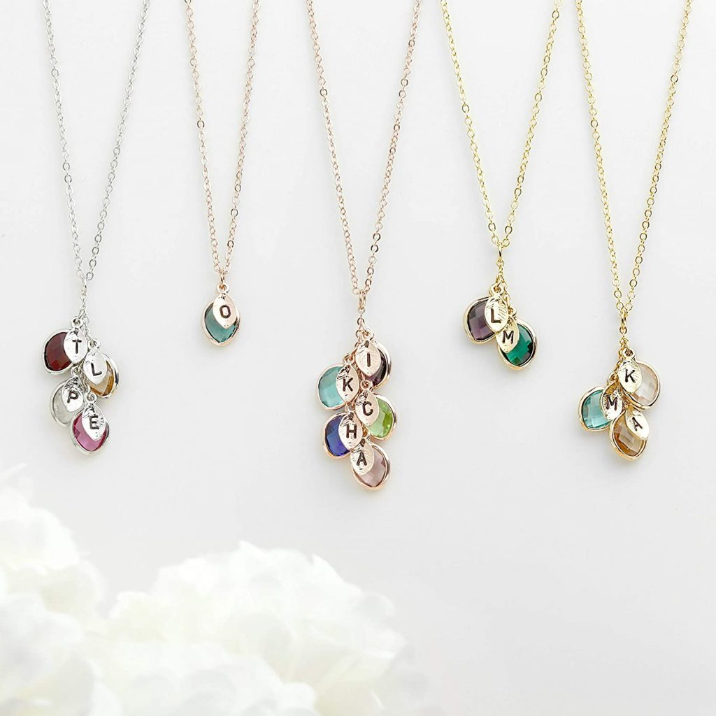 Personalized Gift for Women Birthstone Necklace for Mothers Initial Necklace for Women Gifts for Her valentine day for mom