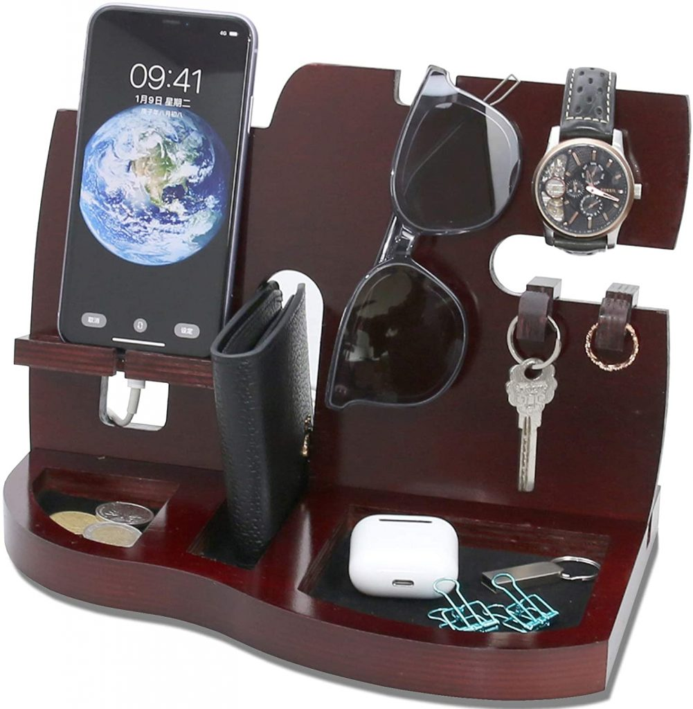 Red Wooden Phone Docking Station with Key Holder, Wallet and Watch Organizer Men's Gift Husband valentine day for guys